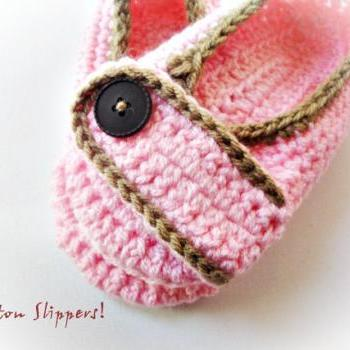 Light Pink/Coffee Crochet Slippers